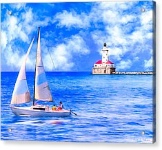 Beautiful Day For Sailing - Chicago Harbor Light Acrylic Print by Mark E Tisdale