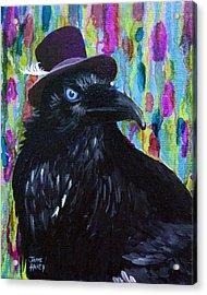 Beautiful Dreamer Black Raven Crow 8x10 Mixed Media By Jaime Haney Acrylic Print