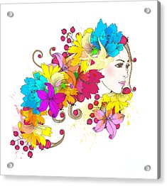 Beautiful Fashion Women With Abstract Acrylic Print