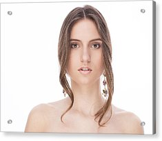 Beautiful Female With Earrings Acrylic Print by Anastasia Yadovina