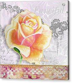 Beautiful Floral Peach Rose Original Flower Painting By Megan Duncanson Acrylic Print by Megan Duncanson