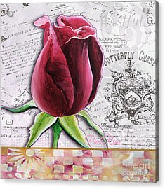 Beautiful Floral Pink Rose Original Flower Painting By Megan Duncanson Acrylic Print by Megan Duncanson
