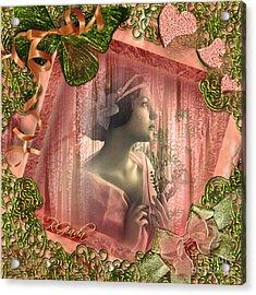 Acrylic Print featuring the digital art Beautiful Fragility - Vintage Scrap Art By Giada Rossi by Giada Rossi