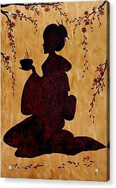 Beautiful Geisha Coffee Painting Acrylic Print by Georgeta  Blanaru