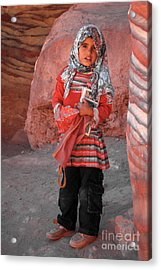 Beautiful Girl At Petra Jordan Acrylic Print by Eva Kaufman