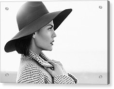 Beautiful Girl With Make-up, Dressed In Old-fashioned Coat And Hat Acrylic Print by CoffeeAndMilk
