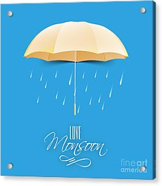 Beautiful Glossy Golden Umbrella On Acrylic Print by Allies Interactive