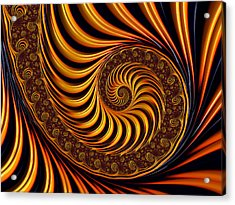Beautiful Golden Fractal Spiral Artwork  Acrylic Print