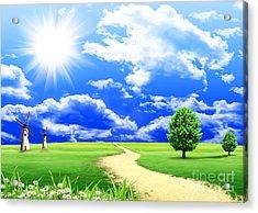 Beautiful Green Field Acrylic Print by Boon Mee