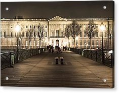 Beautiful Louvre Museum Viewed From The Pont Des Arts At Night Acrylic Print by Mark E Tisdale