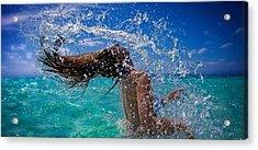 Beautiful Model Splashing Acrylic Print by JM Photography