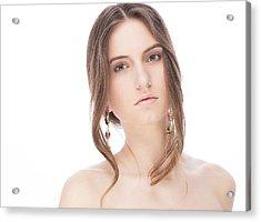 Beautiful Model With Earrings Acrylic Print by Anastasia Yadovina