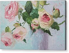 Beautiful Roses Oil Palette Knife Painting Acrylic Print by Chris Hobel
