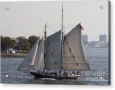 Beautiful Sailboat In Manhattan Harbor Acrylic Print by John Telfer