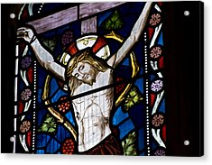 Beautiful Stained Glass Window Depicting Jesus On The Cross Acrylic Print