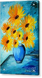 Beautiful Sunflowers In Blue Vase Acrylic Print