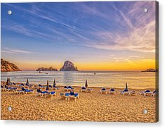 Beautiful Sunset Beach At Cala D´hort On Ibiza Acrylic Print by Juergen Sack