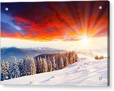Beautiful Sunset In The Winter Acrylic Print by Boon Mee