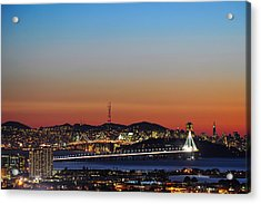 Beautiful Sunset Over The New Bay Bridge And San Francisco Acrylic Print