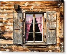 Beautiful Window Wooden Facade Of A Chalet In Switzerland Acrylic Print