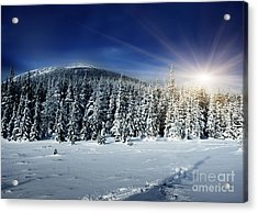 Beautiful Winter Landscape With Snow Covered Trees Acrylic Print by Boon Mee