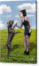 Beautiful Woman And Pit Bull Acrylic Print by Rob Byron