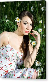 Beautiful Woman In Daisies Acrylic Print by Diana Jo Marmont