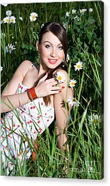 Beautiful Woman Sitting In Tall Grass And Daisies Acrylic Print by Diana Jo Marmont