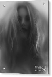 Beautiful Young Woman Face Behind Hazy Glass Acrylic Print by Oleksiy Maksymenko