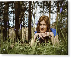 Beautiful Young Woman In The Woods Acrylic Print by Theasis