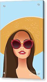 Beautiful Young Woman With Sunglasses Acrylic Print