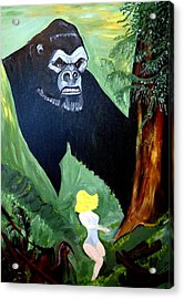 Acrylic Print featuring the painting Beauty And The Beast by Nora Shepley