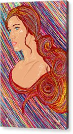 Beauty Of Hair Abstract Acrylic Print by Kenal Louis