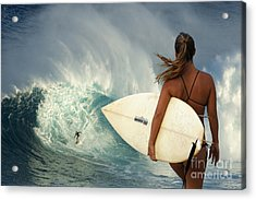 Surfer Girl Meets Jaws Acrylic Print by Bob Christopher