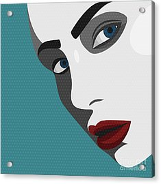 Beauty Pop Art Young Woman With Red Acrylic Print by Svyatoslav Aleksandrov