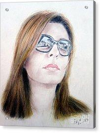 Beauty Wearing Sunglasss  Acrylic Print by Jim Fitzpatrick