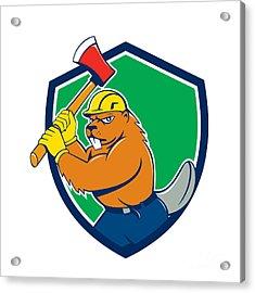 Beaver Lumberjack Wielding Ax Shield Cartoon Acrylic Print