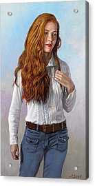 Becca In Blouse And Jeans Acrylic Print by Paul Krapf