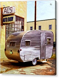 Becky's Vintage Travel Trailer Acrylic Print by Michael Pickett