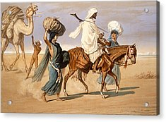 Bedouin Family Travels Across The Desert Acrylic Print by Henri de Montaut