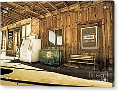 Bedrock Porch - Aged Acrylic Print by Bob and Nancy Kendrick