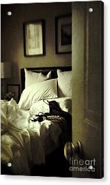 Bedroom Scene With Under Garments On Bed Acrylic Print by Sandra Cunningham