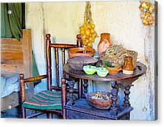 Bedside In A Pilgrim Cottage Acrylic Print by Constantine Gregory