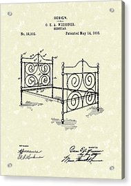 Bedstead 1895 Patent Art Acrylic Print by Prior Art Design