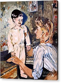 Bedtime Ginette Self Portrait As Child Acrylic Print by Ginette Callaway
