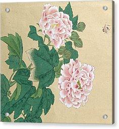 Bee And Peony Acrylic Print by Ichimiosai