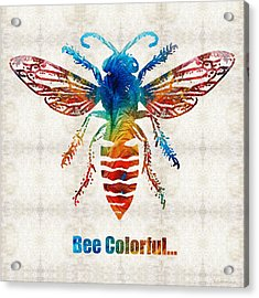 Bee Colorful - Art By Sharon Cummings Acrylic Print by Sharon Cummings