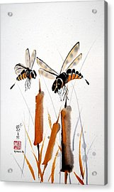 Acrylic Print featuring the painting Bee-ing Present by Bill Searle