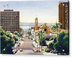 Beech Street In San Diego Acrylic Print by Mary Helmreich