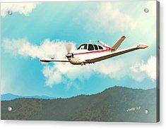 Beechcraft Bonanza V Tail Red Acrylic Print by John Wills